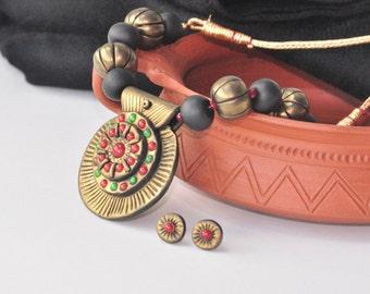 Polymer clay jewelry/ Polymer clay Necklace/ Indian jewelry