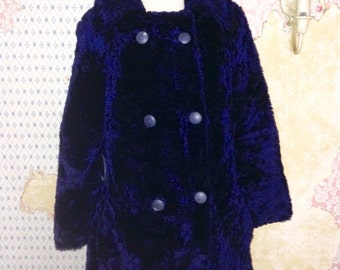 Blue Faux Fur Navy Pea Coat Double Breasted Jacket 1970's S - M
