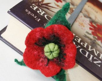 Wet Felted Merino Wool Bookmark Dark Red Poppy Flower  Mother Wool  Decor Christmas ValentinDay Present Decoration Miniature Collection