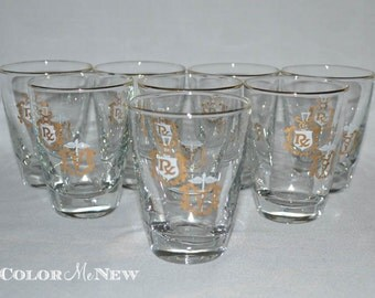 Set of 8 Libbey Rx Rocks Glasses - Gold and White