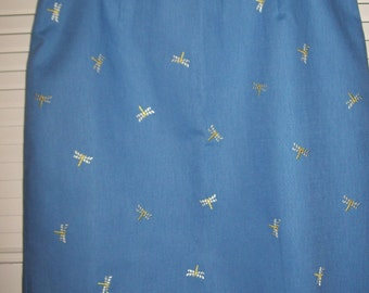Vintage Talbot's Cotton Cool Skirt Embroidered Dragonflies Size 12