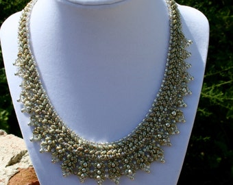 Sage Green Beaded Collar Necklace With Glass Beads and Swarovski Crystals and Silver Plated Toggle Clasp