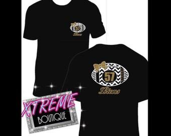 Custom Football Mom shirt, Personalized Football Mom Shirt, Bling Football Mom Shirt, womens personalized football shirt