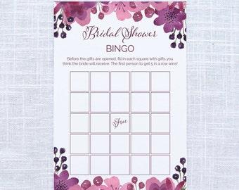 Watercolor Floral Bridal Shower Bingo / Baby Shower Shower / Couples Shower / Bachelorette Invitation / #1009