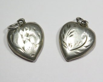 Lot of 2 Early Vintage Sterling Silver Puffy Heart Charm Pendants