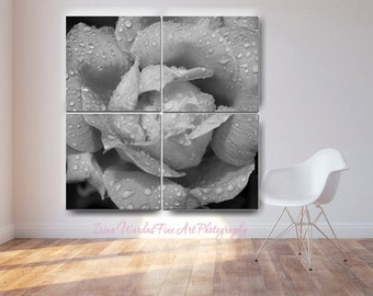 Extra large wall art, canvas art panels, black and white 4 panel wall art, grey wall decor, floral canvas art, rose flower oversized art