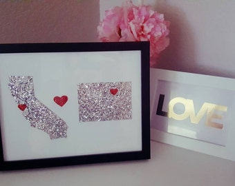 2 states with hearts in an 8.5x11 frame
