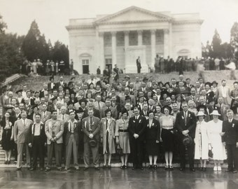 Vintage black&white Photograph picture men and women Sporting badges honor staged in front of monument