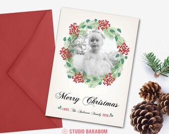 Printable Christmas photo card, Holiday photo card - HLDP02 R