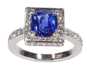 2.25 cttw Art Deco Natural Blue Sapphire Diamond Engagement Ring