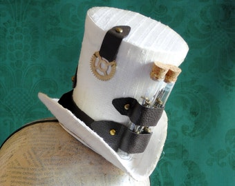 Steampunk Mini Top Hat in White,Bridal Steampunk Mini Hat,Tea-party Mini Top Hat with Vintage Watch Parts-Ready to Ship