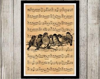 Bird poster Art print Animal print Antique style decor NP166