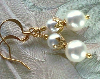 Swarovski Crystal, Handmade Earrings, Crystal Pearl Earrings, Dual Pearl Earrings, Cottage Chic Earrings, June Birthstone, Bridal Earrings