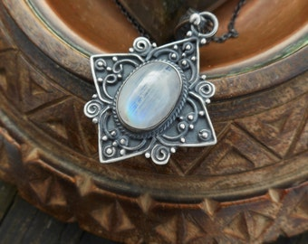 Rainbow moonstone necklace, moonstone necklace, moonstone jewelry, rainbow moonstone pendant, oxidized silver necklace, gemstone necklace