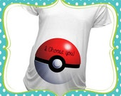 BR-03 I choose you Pokeball inspired Baby bump shirt Maternity or T-Shirts Christmas Gift Baby Shower Gift