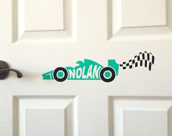 Custom Vinyl Decal - Race Car Checkered Flag - Kids Room Door Wall Above Bed - Personalized Name