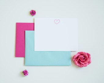 Personalized Stationary Embossed Stationery Heart Stationery
