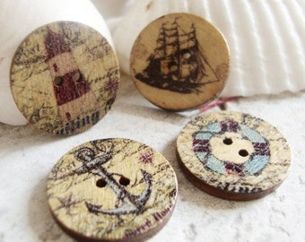 Ocean Buttons,Nautical Buttons, 4 pcs....16mm