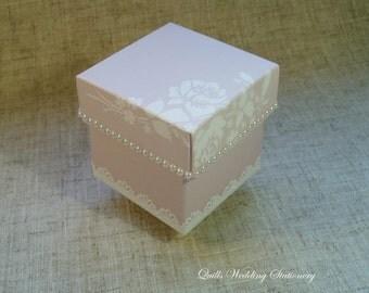Shabby Chic Square Favour Box. Wedding Favour Box. Pearl Decoration.