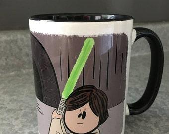 Luke Skywalker & Darth Vader, Star Wars 15oz Ceramic Mug in White/Black