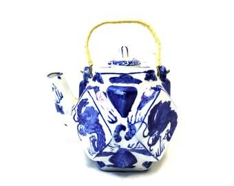 Petite Blue & White Dragon Teapot