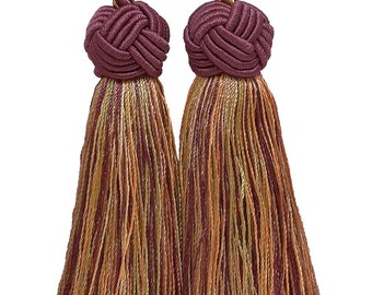 Double Tassel, PLUM OLIVE green, tassel tie with 3.5 inch tassels, plum olive 73