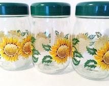 Set of Three Vintage Storage Jars with Sunflower Décor by Le Parfait France