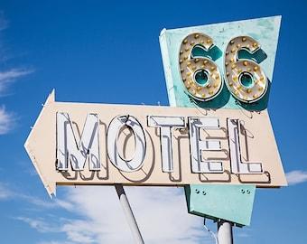 Route 66 Motel Sign, Route 66 decor, Vintage motel,  Travel photography, Road Trip, Wanderlust, Mid century, square, fine art photo print