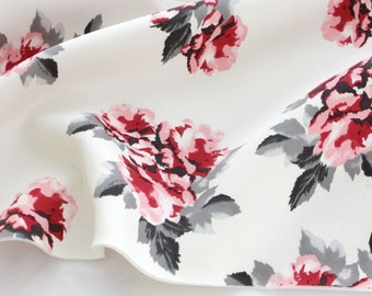 Neoprene Fabric Rose Blossom Ivory By The Yard