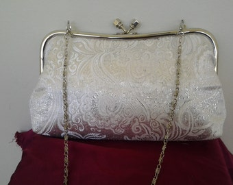 silver white wedding clutch bridal bridesmaid holiday prom clutch BBsCustomClutches silver bridal clutch silver holiday clutch