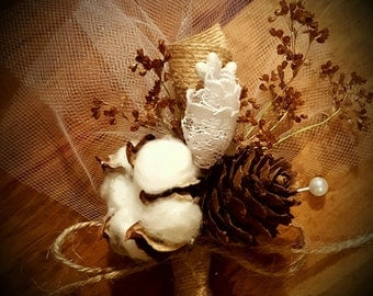 Boutonniere, cotton boutonniere, pinecone boutonniere, rustic wedding