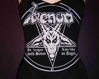 VENOM diy cami girly tank top tee black metal In League With Satan t-shirt singlet XS S M L XL