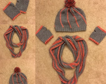 Hat, Scarf, Fingerless Gloves - Made to Order
