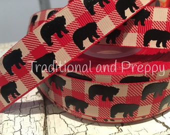 "7/8"" Buffalo Plaid red tan Black Bear grosgrain ribbon"