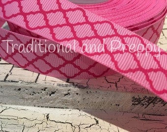 "7/8"" Pink Quatrefoil on PINK Grosgrain Ribbon sold by the yard"