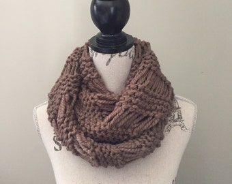 Infinity Scarf, Chunky Knit, Infinity Knit Scarf In Wheat