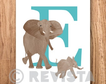 E for Elephant, instant download, printable poster, Kids room print, Baby name, Nursery wall art, Safari print, Animal illustrated letter