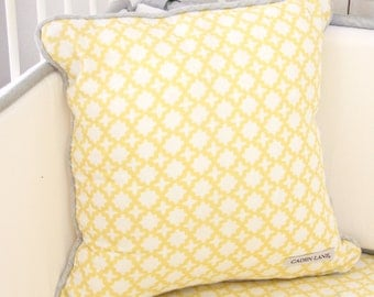 Yellow and Gray Square Pillow | Ryan's Yellow and Gray Collection