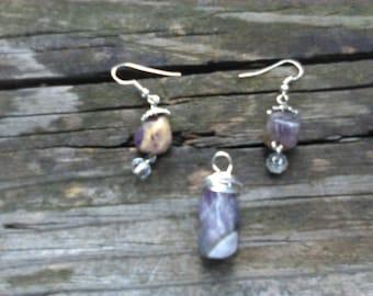 Stone Pendant & Earring Set