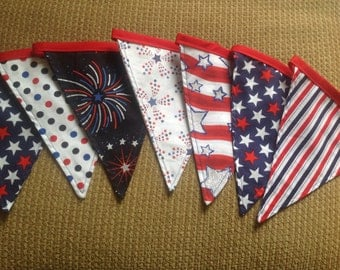 Fabric Banner, 10 Flag Bunting Banner, 4th of July Banner
