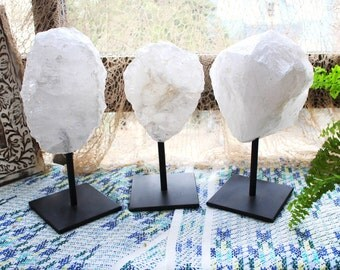 Rough Crystal Quartz in Metal Base - Large Size - Brazilian Crystal and Stones - Home Decor - Chakra Crystals (HW4-12)