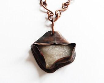 rustic handmade pendant,  irregular white rough  stone  copper wrapped,  handmade copper chain, copper pendant, stone to set in copper,