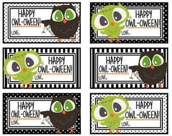 Happy Owl-oween Tags - Digital Printables - Instant Download - Halloween Gift Tags
