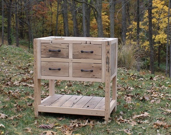 """Rustic Vanity (30"""") - Reclaimed Barn Wood Vanity - (Raised Grain Removed) #1770"""