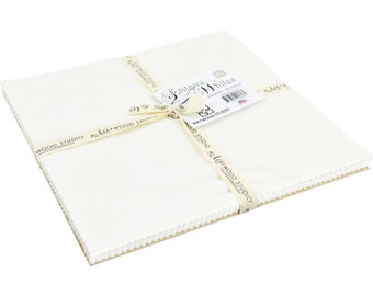 """Solitaire Whites, Maywood Studios, EE Schenk, Soft White, 10"""" x 10"""" Fabric Squares, Tone on Tone Fabrics, Quilt Quality, Precut Fabric"""