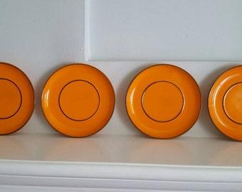 Vintage Thomas Plates Saucer Dessert Orange - Set of 4
