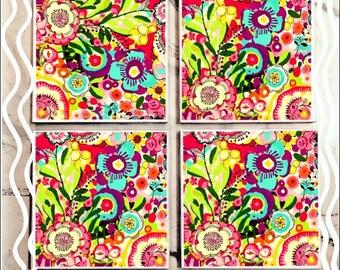 Bright Floral Tile Coaster Set