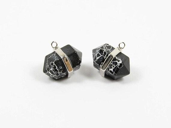Gemstone Charm/ Hexagon Pointed Pendant with Black Marble Stone in Anti-tarnish Rhodium plating  - 2 pcs/ order