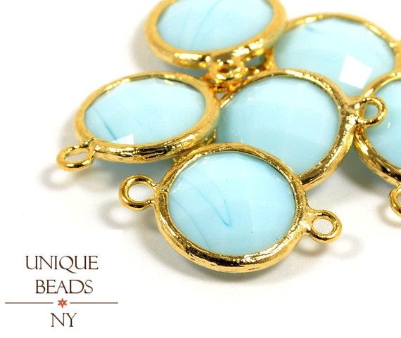 Creamy blue, baby blue framed glass  bezel connector round 17mm x 12mm gold plating - 2 pcs/ pkg