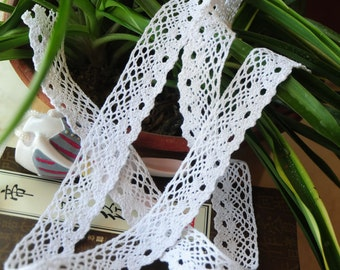 "White Vintage Cotton  Lace Trim ,DIY beige lace ribbon for sewing,2.5CM white cotton lace,1"" DIY trmming"